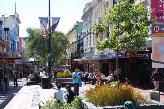 Wellington's Cuba Street functions as an informal meeting place for people year-round