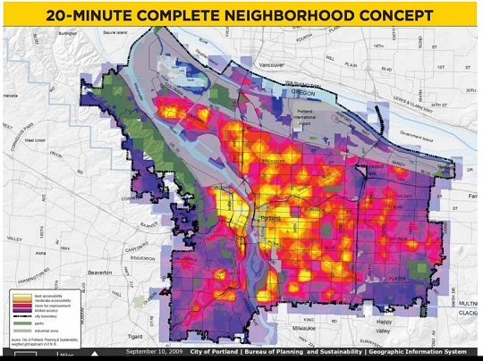 The above plan maps the walkability of Portland - yellow = very walkable, purple = not walkable
