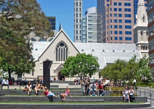 Auckland's subtropical climate is optimal for the continued use of public spaces year-round (St Patrick's Square, Auckland)