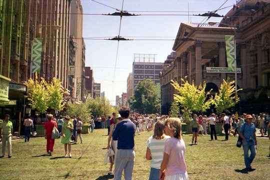 Melbourne's Swanston Street was turned into a park for one weekend in  1985 for the city's 150th birthday celebrations - today, the road is entirely car free (Source: Projects on the Road)