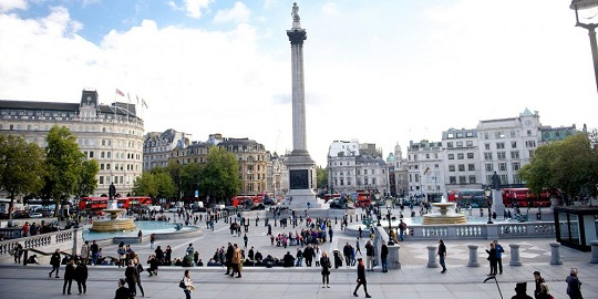 Trafalgar Square, located in the heart of London, has the surrounding density to ensure it is busy