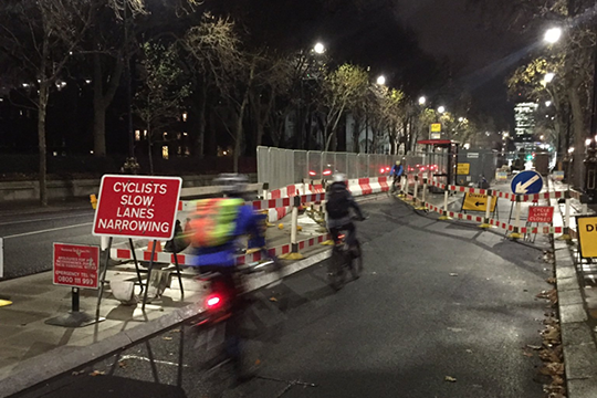 Rather than being forced to dismount at roadworks in London, cyclists are now told to slow down.