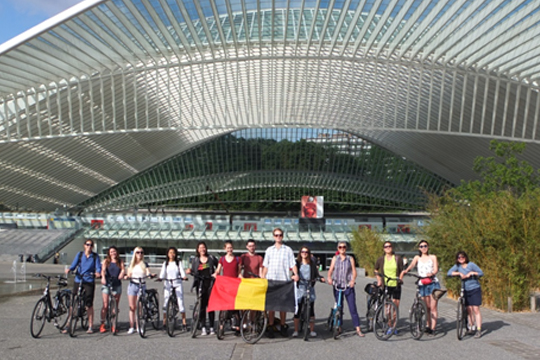 Group photo at Liège Guillemin's railway station.
